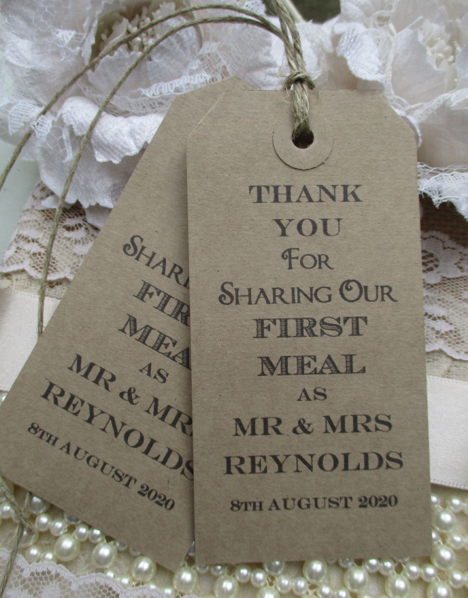 10 wedding table place setting tag napkin tie personalized